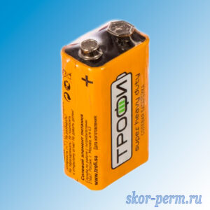 Батарейка 6F22-1S солевая 9V ТРОФИ