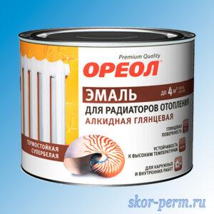 Эмаль для радиаторов отопления ОРЕОЛ алкидная белая, 0.5 кг