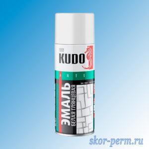 Аэрозоль KUDO эмаль глянцевая, белая, 520 мл