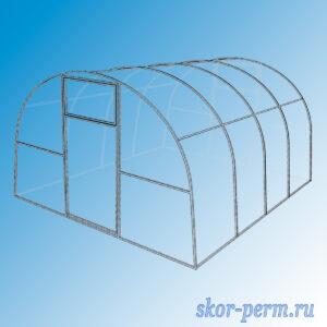 Каркас теплицы металлическая 4х3х2 м под поликарбонат с дверями (5 дуг)