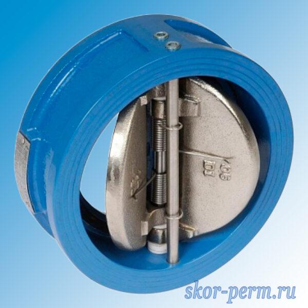Клапан обратный чугунный 19ч21бр поворотный межфланцевый двухдисковый