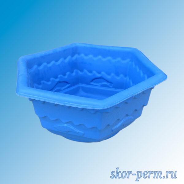 """Клумба пластиковая """"Шестигранник с рыбками"""" синяя"""