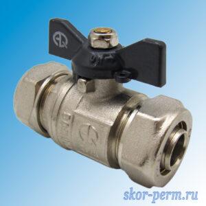 Кран для металлопластиковых труб 20х20 АQUALINK Ц-Ц