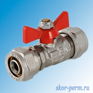 Кран для металлопластиковых труб 16х16 VALTEC Ц-Ц