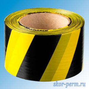 Лента оградительная ЛО-100, 75 мм (черно-желтая)