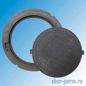 Люк полимерно-песчаный легкий (нагрузка 15 кН), черный