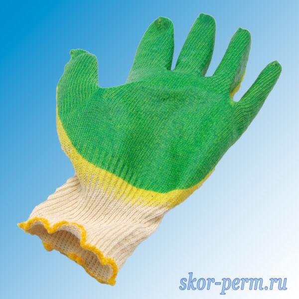 Перчатки хлопчатобумажные с двойным латексным покрытием