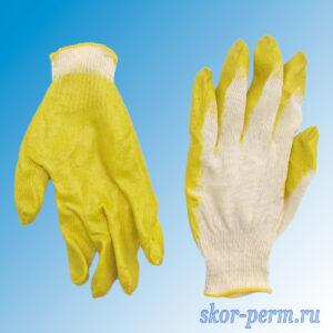 Перчатки хлопчатобумажные с латексным покрытием