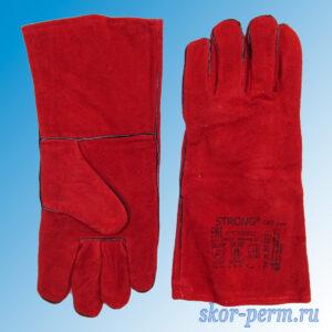 Перчатки-краги спилковые на подкладке, красные