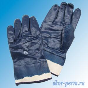 Перчатки облитые нитрилом, синие