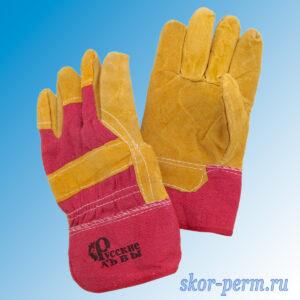 Перчатки спилковые комбинированные меховые