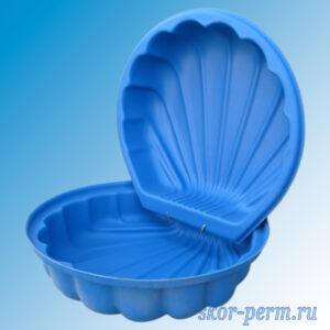 """Песочница пластиковая """"Ракушка"""" с крышкой синяя"""