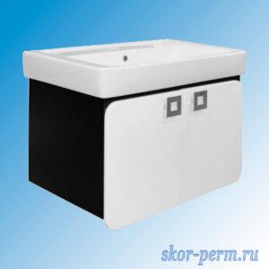 Подстолье для ванной «Мальта-80» подвесная черная (под умывальник Тригода-80), ПВХ