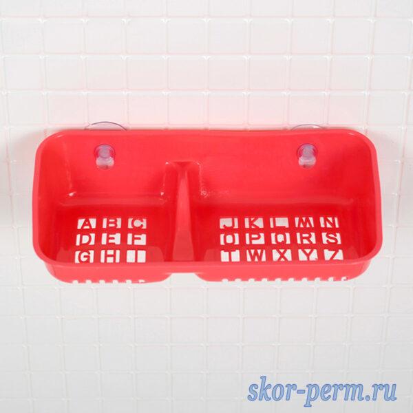 Полка для ванной с мыльницей на присосках пластиковая