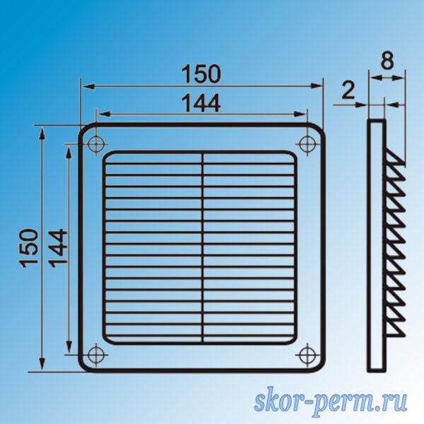 Решетка вентиляционная ARTPLAST 150х150 без рамки с москитной сеткой