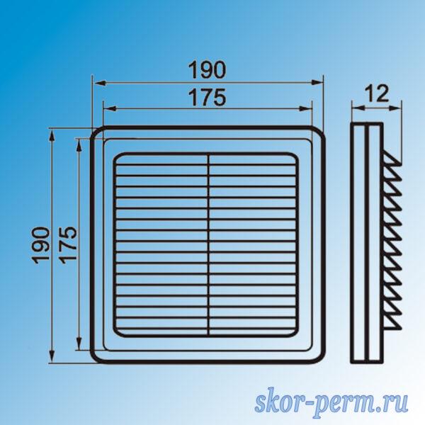 Решетка вентиляционная ARTPLAST 175х175 разъемная с москитной сеткой