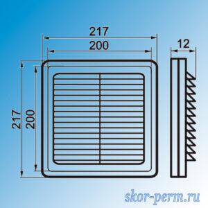 Решетка вентиляционная 200х200 разъемная, с москитной сеткой