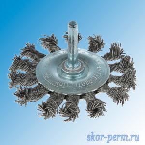 Щетка металлическая для дрели 75 плоская крученая проволока