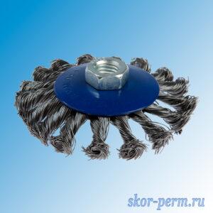 Щетка для УШМ 100, М14, тарелка, крученая проволока