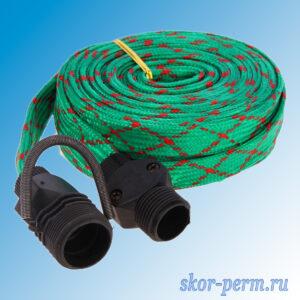 Шланг поливочный резиновый Д=12, 10 м текстильная оплетка + распылитель