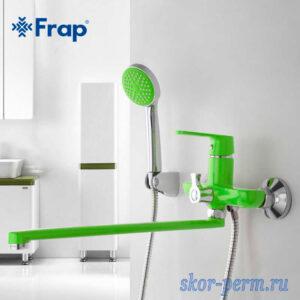 Смеситель FRAP F2233 для ванной 35к настенный зеленый/хром