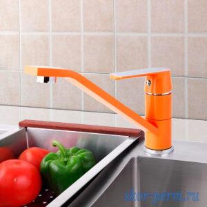 Смеситель FRAP F4932 для кухни 35к гайка (оранжевый+хром)