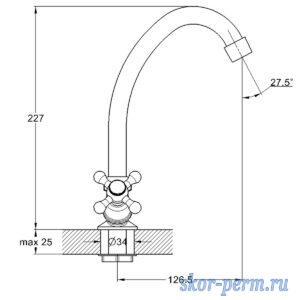Смеситель G-LAUF JML4-A605 для кухни 1/2рез гайка
