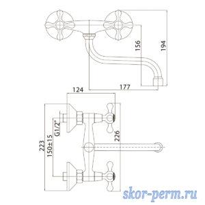 Смеситель KONNER ELC2310 для кухни 1/2к настенный крест