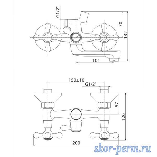 Смеситель KONNER ELC2510 для ванны настенный