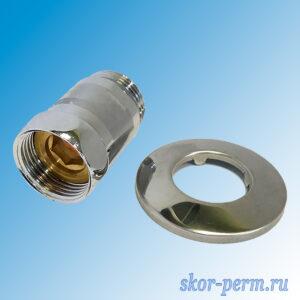 Соединение прямое G1″-1″ ВР-НР с отражателем для полотенцесушителя