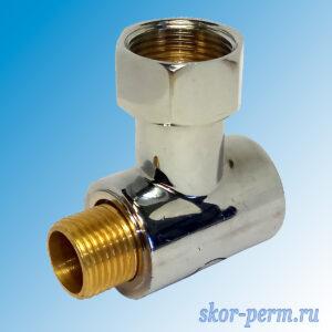 Соединение угловое G3/4″-1/2″ ВР-НР с отражателем для полотенцесушителя