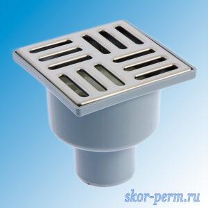 Трап вертикальный 50 металлическая решетка 100х100 ПП