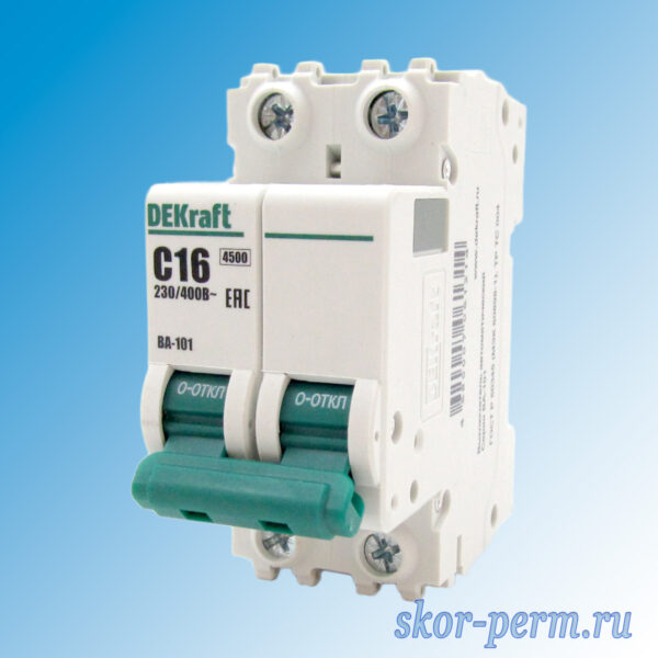 Выключатель автоматический ВА-101-2Р С16А